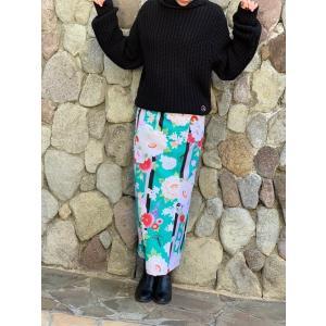 今だけ激安!和柄 巻きスカート ロングタイプ 花柄 和風 ラップスカート 彩ぼたん 緑色 shitateyajingoro