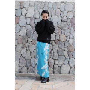 今だけ激安!和柄 巻きスカート ロングタイプ 花柄 和風 ラップスカート さくら蝶 ターコイズ shitateyajingoro
