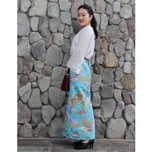 今だけ激安!和柄 巻きスカート ロングタイプ 花柄 和風 ラップスカート 金閣寺 水色 shitateyajingoro