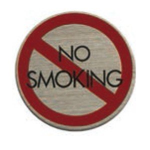 ステンレスプレート ST-R 006 粘着テープ付 直径40mm HCP 禁煙 NO SMOKING...