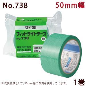 セキスイ 養生テープ フィットライトテープ No.738(緑) 50mm×25M巻 1巻(HA)