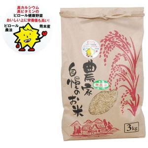 熊本県産 ピロール米 玄米 にこまる(3kg) 上村夢農園 2019年度産 shizenkan