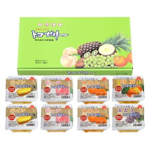 フルーツトコゼリー(130g) 8個化粧箱入り(みかん2個、パイン2個、もも2個、ぶどう1個、甘夏1個) マルヤス shizenkan