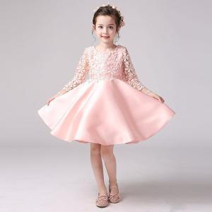 子供 ドレス 発表会 長袖 ピンク ワンピース 女の子 シンデレラ ガールズ フォーマル レース キッズ|shizenshop