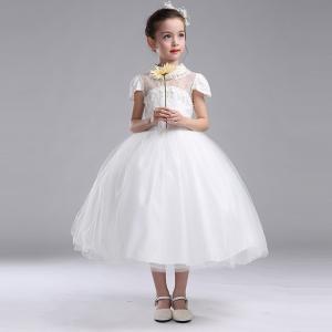 子供 ドレス 女の子 150 フォーマル 白 エレガント 上質 プリンセス お姫様 ドレス 綿 子供服 女の子 発表会 結婚式 パーティー|shizenshop