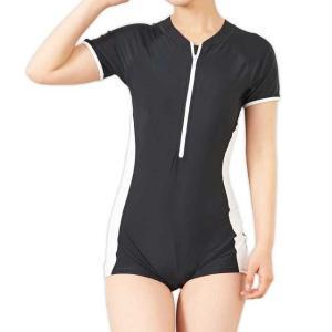 水着 レディース 体型カバー 半袖 ブラック フィットネス オールインワン 水泳 女性 Mサイズ|shizenshop