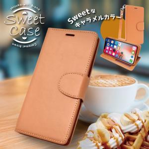 iPhoneXS X 手帳型ケース シンプル ケース カバー ストラップ付 クリアポケット カード収納 キャラメルブラウン アイフォンXS X iphone XS X スマホケース|shizukawill