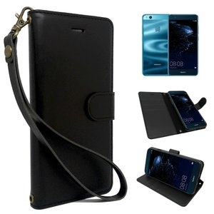 HUAWEI P10 lite 専用 手帳型 黒色 PUレザー シンプル ブラック ケース カバー ビンテージストラップ付 カード収納あり P10lite ケース 手帳カバー ファーウェイ|shizukawill