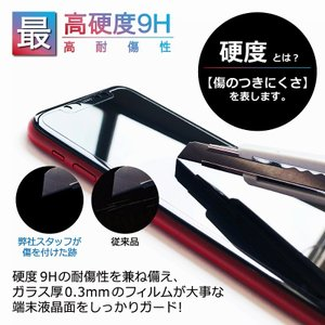 AQUOS R2 compact 日本旭硝子 フルカバー 保護フィルム 硬度9H 耐衝撃 ガラスフィルム ソフトバンク アクオスR2 コンパクト 液晶フィルム 黒色 白色|shizukawill|05