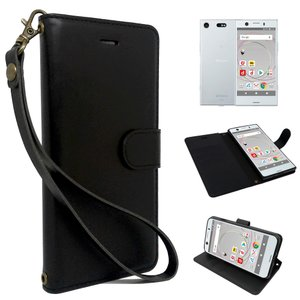 Xperia XZ1 Compact SO-02K 専用 手帳型 黒色 PUレザー シンプル ブラック ケース カバー ストラップ付 カード収納あり XZ1コンパクト 専用 スマホケース shizukawill