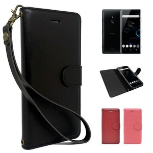Xperia XZ3 docomo SO-01L au SOV39 Softbank 専用 手帳型 黒色 PUレザー  ブラック ケース カバー ビンテージストラップ付 カード収納あり 手帳ケース 全3色|shizukawill