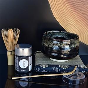 「はじめての抹茶セット」 仁黒艶流抹茶茶碗 抹茶 器 茶道具 茶碗セット お茶の葉桐|shizuokahagiricha