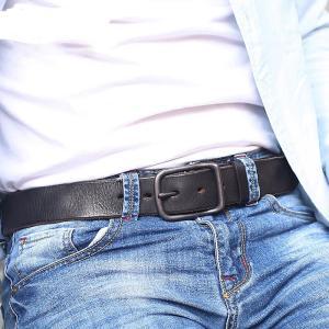 本革 ベルト メンズ ヴィンテージ 黒 ブラック メンズ ワイルド 高級|sho-bai