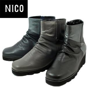 ニコ コンビカラー ウェッジ ブーツ レディース 1030-100-500-610|shobido