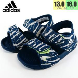 アディダス adidas アルタスイム キッズ サンダル ネイビー 靴 F34791|shobido