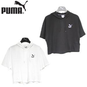 プーマ PUMA クラシックス ロゴ ショートスリーブ フーデッド トップ 靴 レディース 579203-01-02|shobido