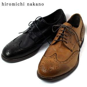 hiromichi nakano ヒロミチナカノ 本革 カジュアル ウィングチップ ビジネス シューズ メンズ 369-200-100|shobido