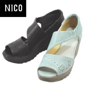 ↓NICO ニコ フラワーパンチング レザー サンダル ウェッジヒール レディース 3941-100|shobido