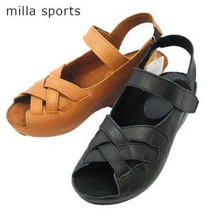 ミラスポーツ クロスデザイン ストラップ サンダル 靴 レディース 6359-100-220|shobido