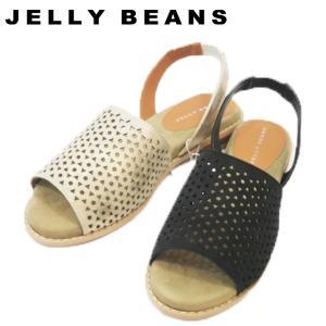 ↓JELLY ジェリービーンズ JELLY BEANS パンチング フラット ストラップ サンダル ぺたんこ レディース 7156-100-590|shobido