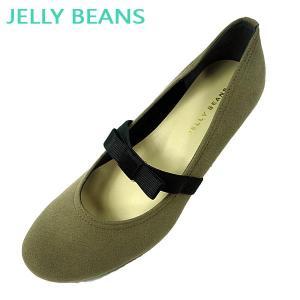 ジェリービーンズ JELLY BEANS リボン ゴムストラップ パンプス ウェッジ ローヒール レディース 8342-770|shobido