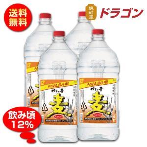 送料無料/博多の華 むぎ  12度 4Lペット×4本 麦焼酎 福徳長酒類 12% 大容量 4000ml 業務用|shochuya-doragon
