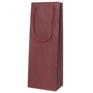 手提紙袋 1本入(エンジ) オリジナルワインにお使いいただけます ワイン用バッグ※当店使用の黒ボックスにはご利用いただけません。|shochuya-doragon
