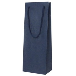 手提紙袋 1本入(紺) オリジナルワインにお使いいただけます ワイン用バッグ※当店使用の黒ボックスにはご利用いただけません。|shochuya-doragon