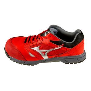 安全靴 スニーカー ミズノ MIZUNO メンズ レディース オールマイティLS レッドxシルバーxブラック 紐 ローカット セーフティシューズ 赤 C1GA1700 RD62 shoemart 02
