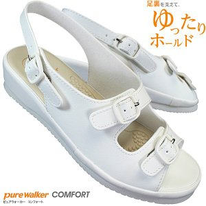 pure walker ピュアウォーカー PW7611 ホワイト ナースサンダル ナースシューズ 疲れにくい|shoeparkkaminari