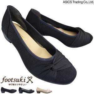 アシックス 商事 フットスキ パンプス FS-15340 レディース ブラックサテン グレーチェック 22.5cm〜24.5cm|靴ショップやまう