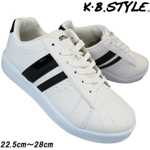 KB.STYLE K-2149 白/黒 スニーカー 3E相当 ホワイトベース靴 メンズ コートタイプスニーカー 幅広 軽量 お買い得 shoeparkkaminari