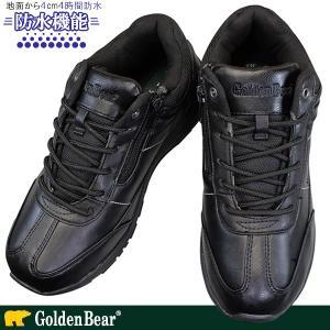 ゴールデンベア GB-085 ブラック メンズ スニーカー 紐靴 ファスナー付き 黒 トレッキング 生活防水 Golden Bear GB085|shoeparkkaminari