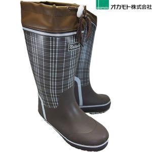 ウレタン裏 防寒長靴 オカモト LCU 201 ブラウン 婦人長靴 フード付|shoeparkkaminari