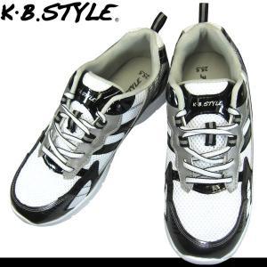 メンズ スポーツシューズ KB.STYLE 17049 白/黒 ヒモ ジョギング ランニング シューズ 幅広 軽量 お買い得 作業靴|shoeparkkaminari