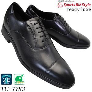 asics trading テクシーリュクス TU7783 黒 ストレートチップ ポインテッドラウンドトウ アシックス 商事 texcy luxe 7783 メンズ ビジネス 革靴|shoeparkkaminari