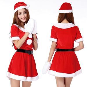 サンタ コスプレ 大人 コス レディース ワンピース スカート サンタクロース 衣装 クリスマス コスチューム 白い 手袋 ミトン レディース ゆったり