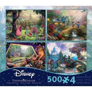 ディズニー ジグソー パズル グッズ 眠れる森の美女 ミッキー ミニー 白雪姫 七人のこびと シンデレラ 500ピース4個セット トーマスキンケード プリンセス