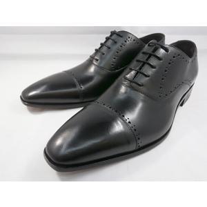 イタリア製 靴  C florence(フローレンス) PARMA B−2118(ブラック) セミブローグ ビジネスシューズ|shoes-aman