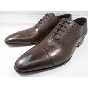 イタリア製 靴  C florence(フローレンス) PARMA B−2118(ダークブラウン) セミブローグ ビジネスシューズ|shoes-aman