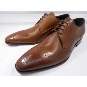 イタリア製 靴  C florence(フローレンス) PARMA B−371(ライトブラウン) フルブローグ メンズビジネスシューズ|shoes-aman