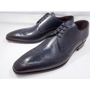 イタリア製 靴  C florence(フローレンス) PARMA B−371(ネイビーブルー) フルブローグ メンズビジネスシューズ|shoes-aman