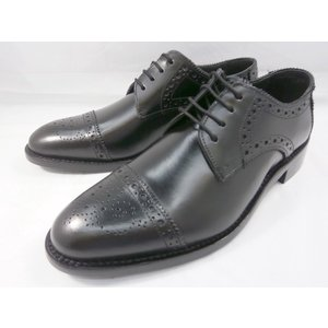 ロンドンシューメイク オックスフォード&ダービー8007(ブラック) セミブローグ メンズ ビジネスシューズ グッドイヤーウェルト製法 本格紳士靴|shoes-aman