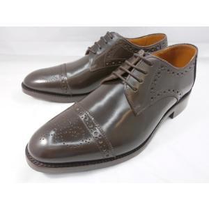 ロンドンシューメイク オックスフォード&ダービー8007(ダークブラウン) セミブローグ メンズ ビジネスシューズ グッドイヤーウェルト製法 本格紳士靴|shoes-aman