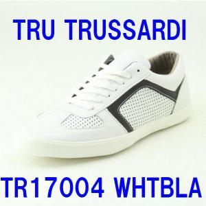 トラサルディ 靴 メンズ TRUSSARDI TR17004 ホワイトブラック 本革 メンズ レザースニーカー|shoes-maro