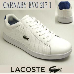 ラコステ メンズレザースニーカー CARNABY EVO 217-1 ホワイト/ブルー 白 lacoste SPM1021-080|shoes-sneakerkawa