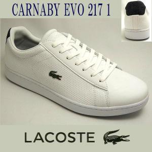 ラコステ メンズレザースニーカー CARNABY EVO 217-1 ホワイト/ネイビー 白/紺 lacoste SPM1021-042|shoes-sneakerkawa