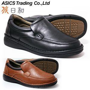 旅日和 アシックス商事 ウォーキングシューズ メンズ TB7847 幅広4E スリッポン ブラック キャメル(EEEE メンズ ワイド設計)(24.5cm〜27cm)|shoes-sunnys