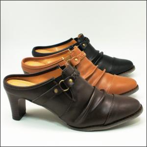 シンプル 美脚 ウエスタン ミュールサンダル 安定感ある 太ヒール 前かぶりタイプ くしゅくしゅ  No,4221 3カラー|shoes-vista