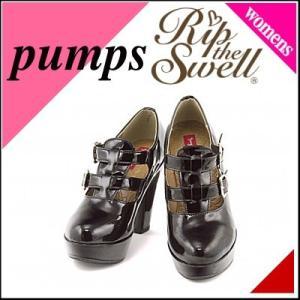 パンプス 痛くない 太ヒール 歩きやすい 疲れない レディース 厚底 プラットフォーム 美脚 リップザスウェル 858032 ブラック|shoesdirect